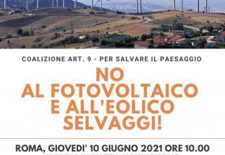 Giovedì in piazza a Roma per dire no al fotovoltaico e all'eolico selvaggi