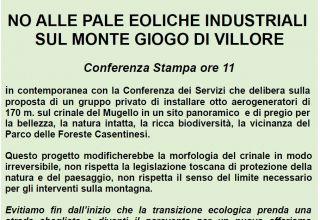 Giovedì presidio a Firenze per sottrarre il Giogo di Villore alla più insensata speculazione eolica